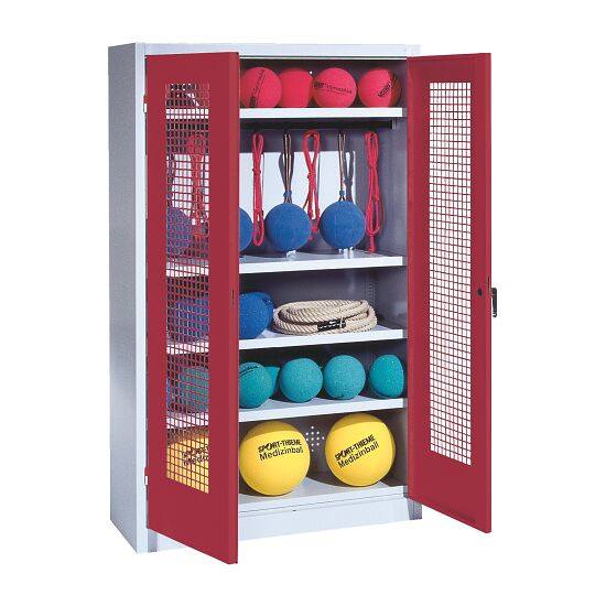 Sports Equipment Locker, HxWxD 195x120x50 cm, with perforated metal double doors (type 2) Ruby red (RAL 3003), Light grey (RAL 7035)