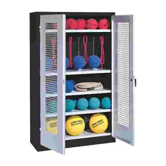 Sports Equipment Locker, HxWxD 195x120x50 cm, with perforated metal double doors (type 2) Light grey (RAL 7035), Anthracite (RAL 7021)