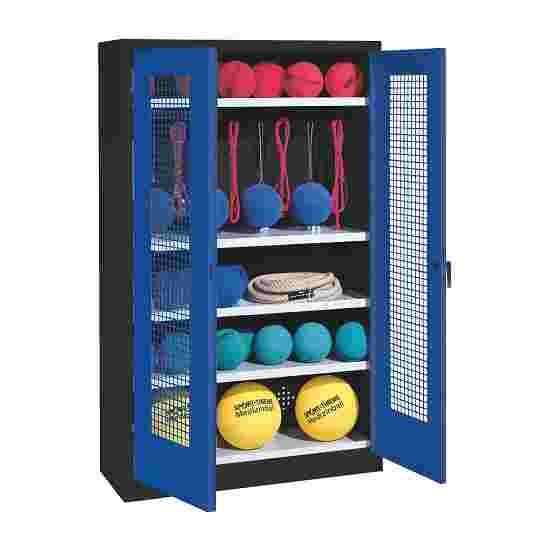 Sports Equipment Locker, HxWxD 195x120x50 cm, with perforated metal double doors (type 2) Gentian blue (RAL 5010), Anthracite (RAL 7021)