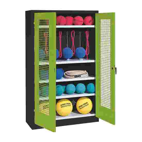 Sports Equipment Locker, HxWxD 195x120x50 cm, with perforated metal double doors (type 2) Viridian green (RDS 110 80 60), Anthracite (RAL 7021)