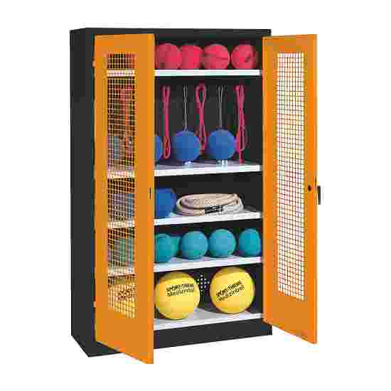 Sports Equipment Locker, HxWxD 195x120x50 cm, with perforated metal double doors (type 2) Yellow orange (RAL 2000), Anthracite (RAL 7021)