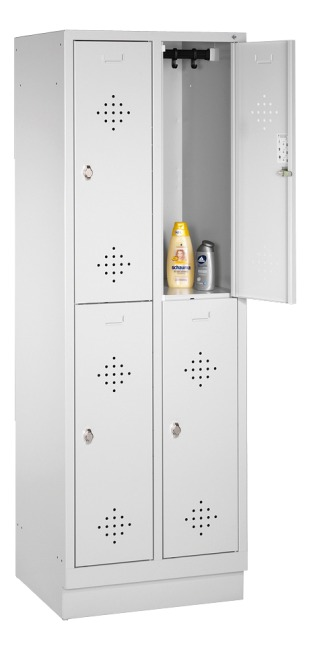 """S 2000 Classic"" Double Lockers with 100-mm-high Base 180x61x50 cm/ 4 shelves, 30 cm"