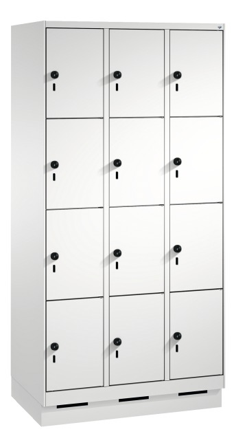 """""""S 3000 Evolo"""" Lockers with Base (4 Lockers Positioned Vertically) 180x90x50 cm/ 12 compartments, Light grey (RAL 7035)"""