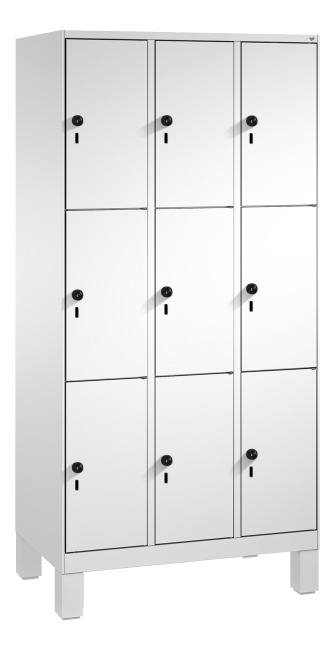 """""""S 3000 Evolo"""" Lockers with Base Legs (3 Lockers Positioned Vertically) 185x90x50 cm/ 9 compartments, Light grey (RAL 7035)"""