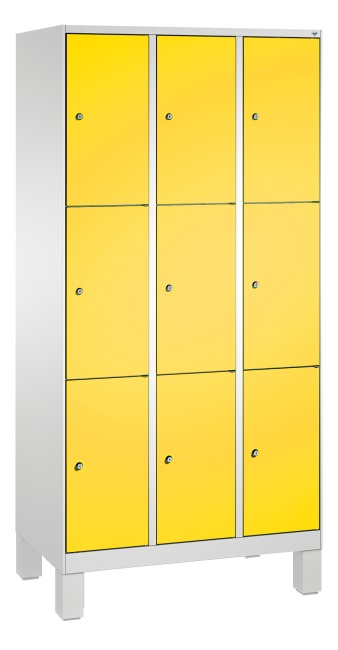 """""""S 3000 Evolo"""" Lockers with Base Legs (3 Lockers Positioned Vertically) 185x90x50 cm/ 9 compartments, Sunny Yellow (RDS 080 80 60)"""