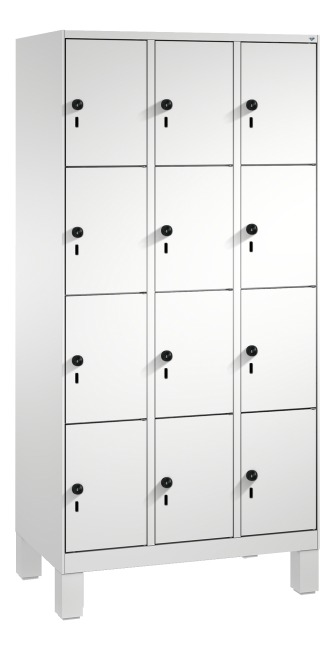 """S 3000 Evolo"" Lockers with Base Legs (4 Lockers Positioned Vertically) 185x90x50 cm/ 12 compartments, Light grey (RAL 7035)"