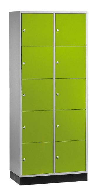 """""""S 4000 Intro"""" Compartment Locker (5 compartments on top of one another) 195x62x49cm/ 10 compartments, Viridian green (RDS 110 80 60)"""