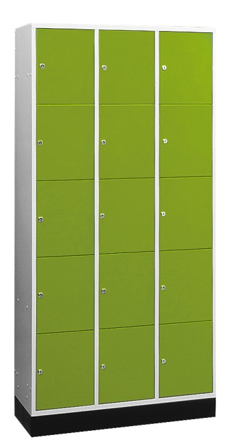 """""""S 4000 Intro"""" Compartment Locker (5 compartments on top of one another) 195x92x49cm/ 15 compartments, Viridian green (RDS 110 80 60)"""