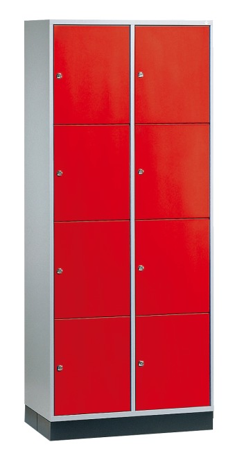 """""""S 4000 Intro"""" Large Capacity Compartment Locker (4-Door Locker) 195x82x49 cm/ 8 compartments, Fiery Red (RAL 3000)"""