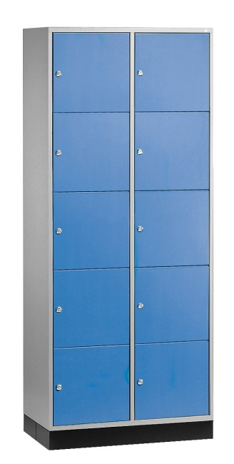 """S 4000 Intro"" Large Capacity Compartment Locker (5 compartments on top of one another) 195x85x49 cm/ 10 compartments, Gentian blue (RAL 5010)"