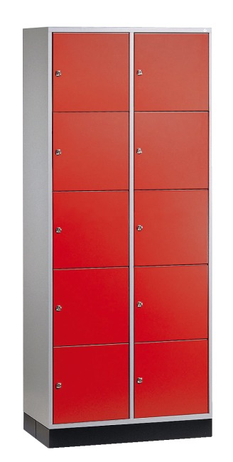 """S 4000 Intro"" Large Capacity Compartment Locker (5 compartments on top of one another) 195x85x49 cm/ 10 compartments, Fiery Red (RAL 3000)"