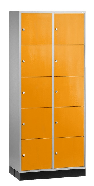 """S 4000 Intro"" Large Capacity Compartment Locker (5 compartments on top of one another) 195x85x49 cm/ 10 compartments, Yellow orange (RAL 2000)"