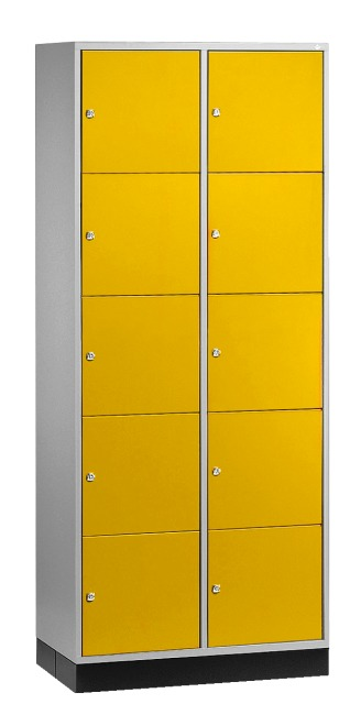 """S 4000 Intro"" Large Capacity Compartment Locker (5 compartments on top of one another) 195x85x49 cm/ 10 compartments, Sunny Yellow (RDS 080 80 60)"