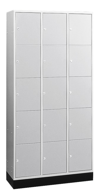 """S 4000 Intro"" Large Capacity Compartment Locker (5 compartments on top of one another) 195x122x49 cm/ 15 compartments, Light grey (RAL 7035)"