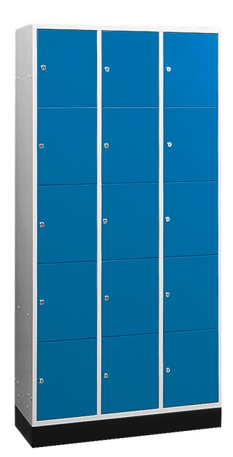 """S 4000 Intro"" Large Capacity Compartment Locker (5 compartments on top of one another) 195x122x49 cm/ 15 compartments, Gentian blue (RAL 5010)"