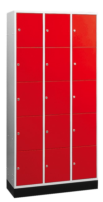"""S 4000 Intro"" Large Capacity Compartment Locker (5 compartments on top of one another) 195x122x49 cm/ 15 compartments, Fiery Red (RAL 3000)"