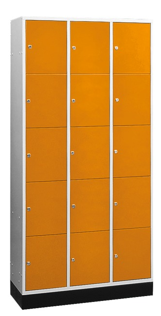 """S 4000 Intro"" Large Capacity Compartment Locker (5 compartments on top of one another) 195x122x49 cm/ 15 compartments, Yellow orange (RAL 2000)"