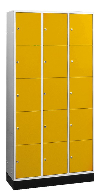 """S 4000 Intro"" Large Capacity Compartment Locker (5 compartments on top of one another) 195x122x49 cm/ 15 compartments, Sunny Yellow (RDS 080 80 60)"