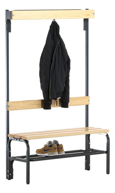 Sypro Wolf® Dry Area Changing Bench with Backrest 1.01 m, With shoe shelf