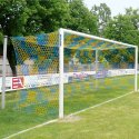 Aluminium Football Goal, 7.32x2.44 m, Socketed with Free Net Suspension Stove-enamelled white, Net hooks