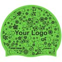 Latex Printed Swimming Cap Green, One-sided