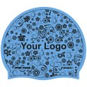 Printed Silicone Swimming Cap Blue, One-sided