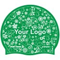 Printed Silicone Swimming Cap Green, One-sided