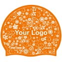 Printed Silicone Swimming Cap Orange, Double-sided