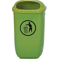 Litter Bin, complies with DIN Green, With posts and triangular wrench key