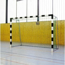 Sport-Thieme 3x2 m, stands in ground sockets, with folding net brackets Handball Goal Black/silver, Bolted corner joints