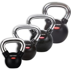 Sport-Thieme® Rubberised Kettlebell Set with Smooth Chrome Handle