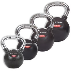 Sport-Thieme Kettlebell Set, Rubbersied with Chrome Handle