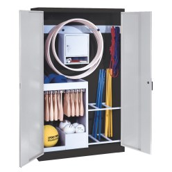 Sports Equipment Locker, HxWxD 195x120x50 cm, with metal double doors (type 1) Sunny Yellow (RDS 080 80 60), Light grey (RAL 7035)