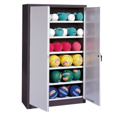 Ball Cabinet, HxWxD 195x93x50 cm, with Sheet Metal Double Doors (type 3) Sunny Yellow (RDS 080 80 60), Anthracite (RAL 7021)