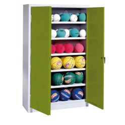 Ball Cabinet, HxWxD 195x120x40 cm, with Sheet Metal DoubleDoors (type 3) Sunny Yellow (RDS 080 80 60), Light grey (RAL 7035)
