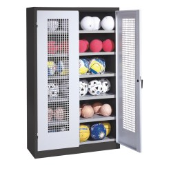 Ball Cabinet, HxWxD 195x120x50 cm, with Perforated Metal Double Doors (type 3) Sunny Yellow (RDS 080 80 60), Anthracite (RAL 7021)