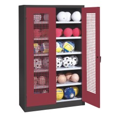 Ball Cabinet, HxWxD 195x120x50 cm, with Perforated Metal Double Doors (type 3) Sunny Yellow (RDS 080 80 60), Light grey (RAL 7035)