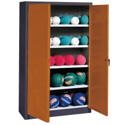 Ball Cabinet, HxWxD 195x150x50 cm, with Sheet Metal Double Doors (type 3) Sunny Yellow (RDS 080 80 60), Light grey (RAL 7035)