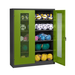 Ball Cabinet, HxWxD 195x150x50 cm, with Perforated Metal Double Doors (type 3) Sunny Yellow (RDS 080 80 60), Anthracite (RAL 7021)