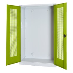 Modular Sports Equipment Cabinet, HxWxD 195x120x50 cm, with Perforated Sheet Double Doors Sunny Yellow (RDS 080 80 60), Anthracite (RAL 7021)