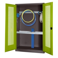 Modular Sports Equipment Cabinet with Basic Fittings, HxWxD 195x120x50 cm, with Perforated Sheet Double Doors Sunny Yellow (RDS 080 80 60), Anthracite (RAL 7021)