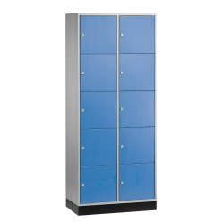 """S 4000 Intro"" Compartment Locker (5 compartments on top of one another) Light grey (RAL 7035), 195x62x49cm/ 10 compartments"