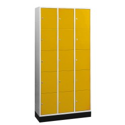 """S 4000 Intro"" Large Capacity Compartment Locker (5 compartments on top of one another) Yellow orange (RAL 2000), 195x122x49 cm/ 15 compartments"