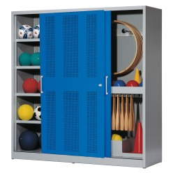 Sports Equipment Cabinet, HxWxD 195x200x60 cm, with Perforated Sheet Sliding Doors (type 5) Sienna red (RDS 050 40 50), Light grey (RAL 7035)