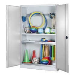 Modular Sports Equipment Cabinet with Complete Fittings, HxWxD 195x120x50 cm, with Sheet Metal Double Doors