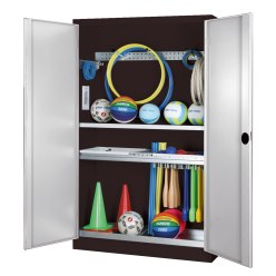 Modular Sports Equipment Cabinet with Complete Fittings, HxWxD 195x120x50 cm, with Sheet Metal Double Doors Sunny Yellow (RDS 080 80 60), Light grey (RAL 7035)