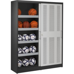 Ball Storage Cabinet, HxWxD: 195x150x50 cm, with Perforated Sliding Doors Light grey (RAL 7035), Light grey (RAL 7035)
