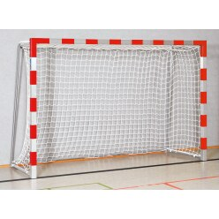 Handball goal 3x2 m, standing in ground sockets. With fixed net brackets.  Red/silver Bolted corner joints