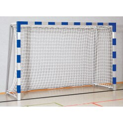 Handball goal 3x2 m, standing in ground sockets. With fixed net brackets.  Blue/silver Welded corner joints