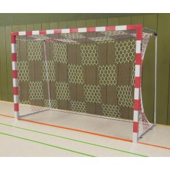 Handball Goal, 3x2 m, Free-standing with Fixed Net Brackets Blue/silver Welded corner joints